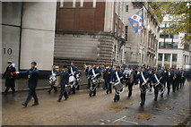 TQ3281 : View of drummers in the Lord Mayor's Parade on Gresham Street by Robert Lamb