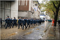 TQ3281 : View of soldiers in the Lord Mayor's Parade from Gresham Street #6 by Robert Lamb