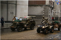 TQ3281 : View of small army jeeps in the Lord Mayor's Parade from Gresham Street by Robert Lamb