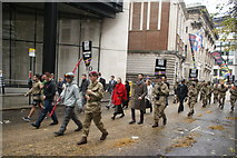 TQ3281 : View of soldiers in the Lord Mayor's Parade from Gresham Street #11 by Robert Lamb