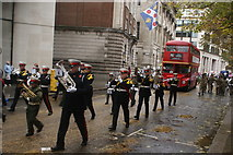 TQ3281 : View of trumpeters in the Lord Mayor's Parade from Gresham Street by Robert Lamb