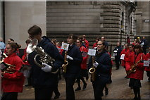 TQ3281 : View of saxophonists in the Lord Mayor's Parade from Gresham Street by Robert Lamb