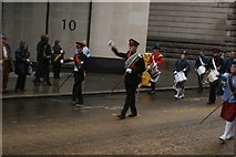 TQ3281 : View of soldiers in the Lord Mayor's Parade from Gresham Street by Robert Lamb