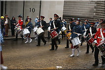 TQ3281 : View of drummers in the Lord Mayor's Parade on Gresham Street #3 by Robert Lamb