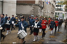 TQ3281 : View of drummers and xylophonists in the Lord Mayor's Parade from Gresham Street by Robert Lamb