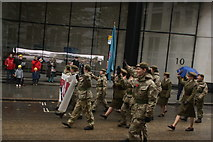 TQ3281 : View of soldiers in the Lord Mayor's Parade from Gresham Street #19 by Robert Lamb