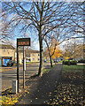 TL4756 : Lichfield Road: bus stop and autumn leaves by John Sutton