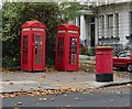 TQ2783 : K2 telephone boxes, Regent's Park Road by Julian Osley