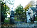 SD3677 : Entrance gates, Holker Hall by Christine Johnstone