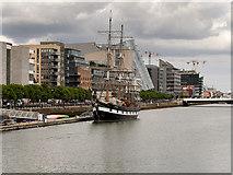 O1634 : Dublin Custom House Quay, Jeanie Johnston Tall Ship and Famine Museum by David Dixon