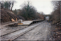SS8983 : Sarn railway station February 9th 1992 by Colin Prosser