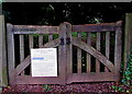 ST3998 : Closure notice on the village church entrance gate, Llanllowell, Monmouthshire by Jaggery