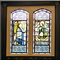 SJ9295 : Stained glass in St Lawrence's by Gerald England