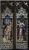 TL1998 : Porch stained glass window, St John the Baptist church, Peterborough by Julian P Guffogg