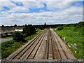 ST3487 : West along the South Wales main line near Moorland Park, Newport by Jaggery