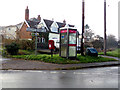 TM3570 : Signpost, Little Pouys Street Postbox & Telephone Box by Adrian Cable