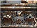 NS3975 : Old Burgh Hall: carved stonework by Lairich Rig