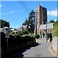 SX9984 : Warning sign - school, Church Lane, Lympstone by Jaggery