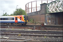 SU4212 : Railway line and gasholder by N Chadwick