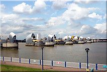 TQ4179 : Thames Barrier from the South Bank by Des Blenkinsopp
