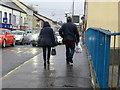 H4572 : Shoppers along Campsie Bridge, Omagh by Kenneth  Allen