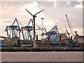 SJ3196 : Wind Turbine and Cranes, Seaforth Docks by David Dixon
