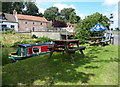 TF4902 : Small beer garden next to the River Nene in Upwell by Mat Fascione