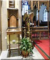 SJ9295 : Bookcase, lectern and chancel screen by Gerald England
