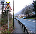 ST2193 : Warning sign - staggered crossroads ahead, Cwmcarn by Jaggery