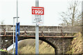 "J3285 : ""999"" sign, Mossley West station, Newtownabbey (December 2016) by Albert Bridge"