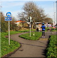 ST3086 : Jogging along National Cycle Route 4, Docks Way, Newport by Jaggery