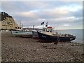 SY2389 : Boats on the beach by Kate Jewell