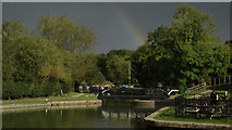 SP6989 : Foxton Locks, near Market Harborough - by bottom lock & storm clouds with rainbow by Colin Park