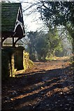 SK2375 : Lych Gate and Lane at Stoney Middleton, Derbyshire by Andrew Tryon