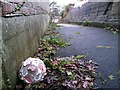 SZ0796 : Northbourne: old football discarded on footpath O01 by Chris Downer