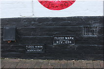 TQ0172 : Flood markers at Bell Weir lock by Robert Eva