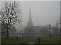TF1505 : St. Benedict's Church, Glinton, on a foggy day by Paul Bryan