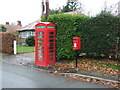 SJ5354 : Elizabeth II postbox and telephone box on Cholmondeley Lane, Bulkeley by JThomas