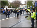 TQ2577 : Policing Chelsea and Peterborough United fans on Fulham Road by Richard Humphrey
