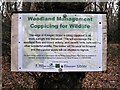 TQ7819 : Coppicing for Wildlife sign, Killingan Wood by Patrick Roper