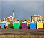 TQ2804 : Beach Huts 157-161, Western Esplanade, Hove by Simon Carey