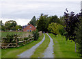SJ5847 : Farm driveway near Wrenbury, Cheshire by Roger  Kidd