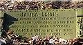 SJ9593 : James Leigh: Grave inscription by Gerald England