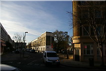 TQ3085 : Looking up Jackson Road and Lowman Road, from Hornsey Road by Christopher Hilton