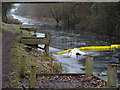 TQ0380 : Sunken boat in canal by Rob Emms