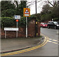 SO5039 : Warning sign on a Hereford corner by Jaggery