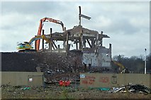 NS3975 : Ballantine's Distillery brick tower being demolished by Lairich Rig