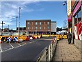 SJ8545 : Newcastle-under-Lyme: streetworks above bus station by Jonathan Hutchins