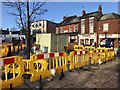 SJ8445 : Newcastle-under-Lyme: streetworks above bus station by Jonathan Hutchins