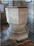 SO9832 : Font in Alstone church by Philip Halling